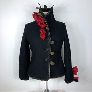 CoVelo Rose & Leaf Wool Jacket Coat Art2Wear
